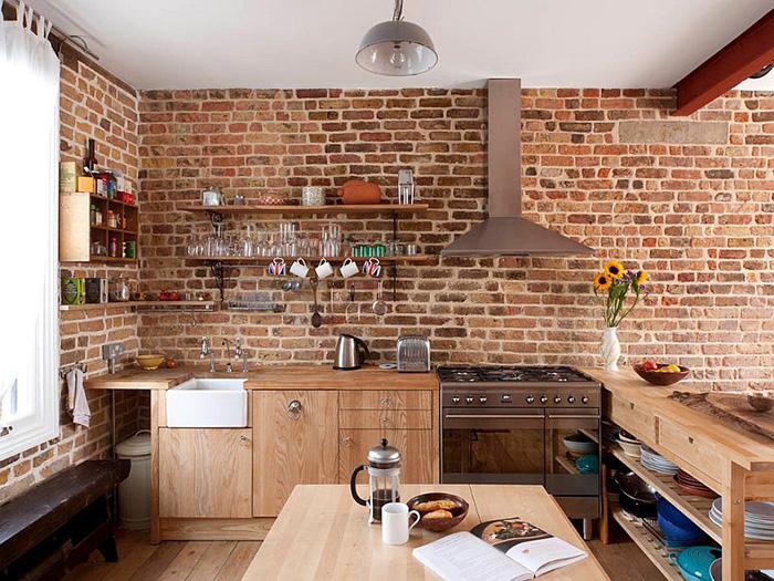 استفاده از آجر در آشپزخانه برای جذاب کردن دکوراسیون داخلی